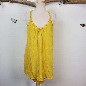 Lush yellow crochet racerback tank